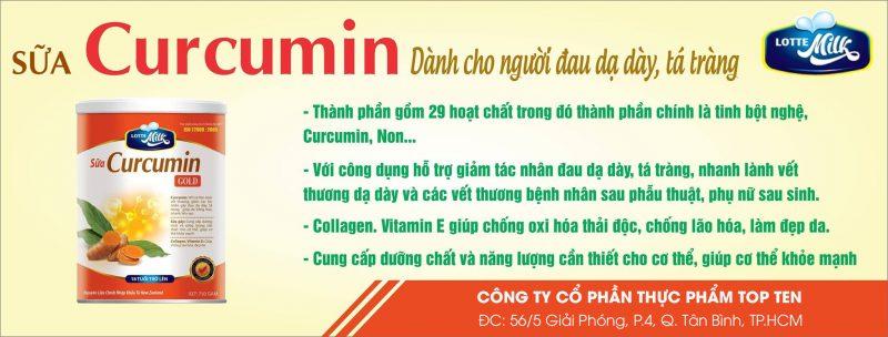 Nano Curcumin Gold, Nano Curcumin, topten food, lotte milk, đau dạ dày, tá tràng, viêm loét dạ dày, tá tràng, tinh bột nghệ,